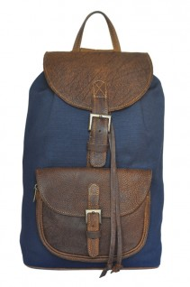 Aged-Navy-Combo-Leather-Canvas-Backpack-Double-Edge