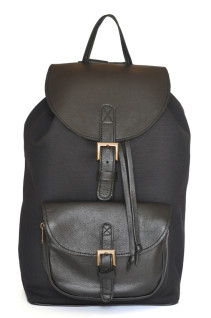 Black Combo Backpack - Black Canvas and Leather Backpack