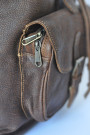 Aged Backpack - Brown Distressed Genuine Cow Hide Leather Backpack (pocket)