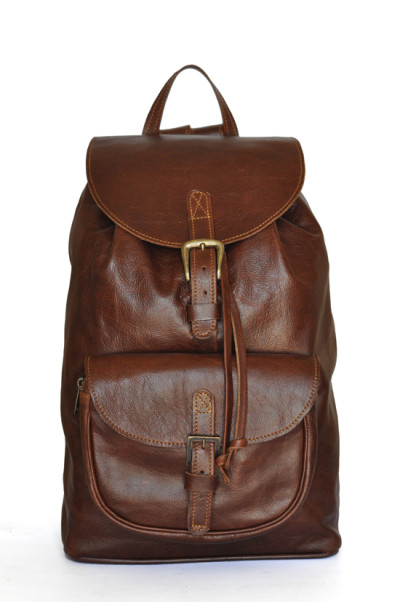 Dark Pecan Backpack - Brown Genuine Leather Backpack