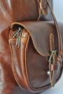 Dark Pecan Backpack - Brown Genuine Leather Backpack (pocket)