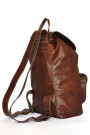 Dark Pecan Backpack - Brown Genuine Leather Backpack (side)