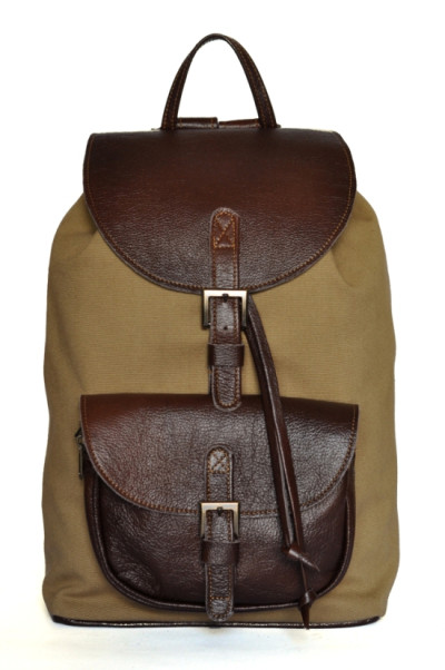 Oasis - Khaki Cotton Canvas and Brown Cow Hide Leather Backpack