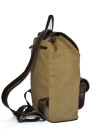 Oasis - Khaki Cotton Canvas and Brown Cow Hide Leather Backpack (side)