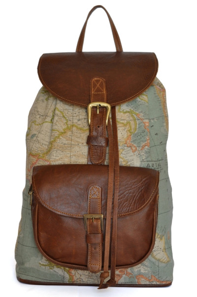The Wanderlust Backpack - World Map Atlas and Brown Leather Backpack