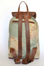 The Wanderlust Backpack - World Map Atlas and Brown Leather Backpack (back)