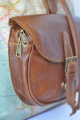 The Wanderlust Backpack - World Map Atlas and Brown Leather Backpack (pocket)