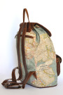 The Wanderlust Backpack - World Map Atlas and Brown Leather Backpack (side)