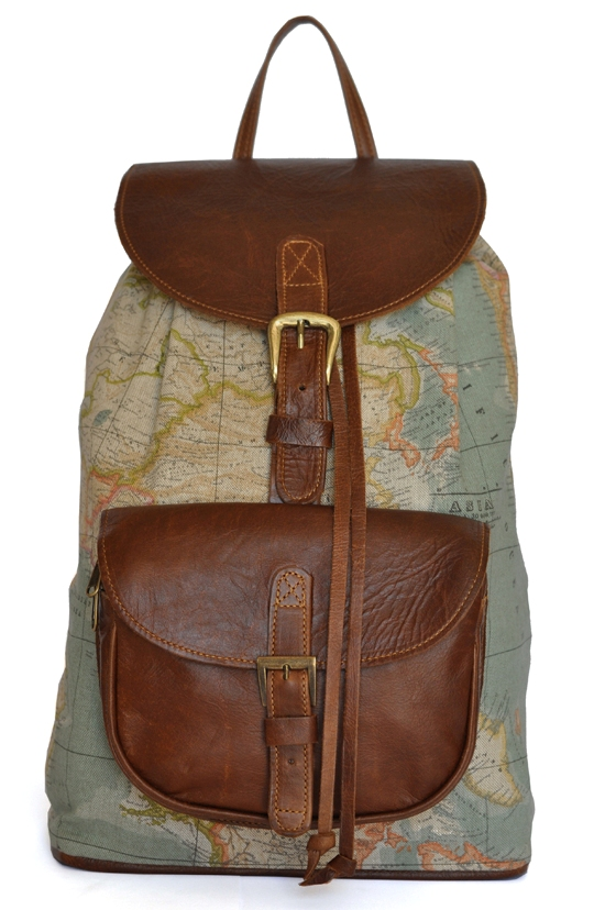 Wanderlust backpack double edge the wanderlust backpack world map atlas and brown leather backpack gumiabroncs Choice Image