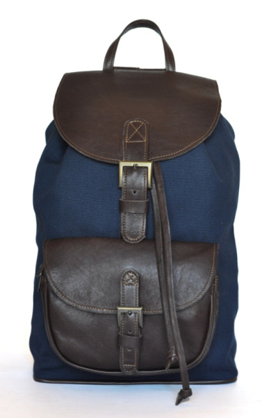 Armada - navy blue canvas and chocolate brown cotton canvas backpack